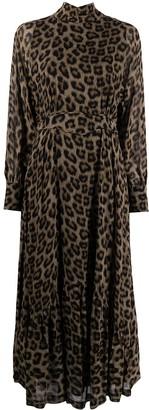 BA&SH Fara leopard-pint midi dress