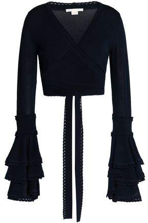 Antonio Berardi Cropped Ruffled Stretch-Knit Wrap Top