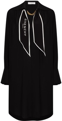 Givenchy Scarf-Collar Silk Short Dress