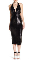 ABS by Allen Schwartz Sequin Cutout Halter Gown
