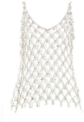 Paco Rabanne Crystal-embellished Chainmail Tank Top - Womens - Silver