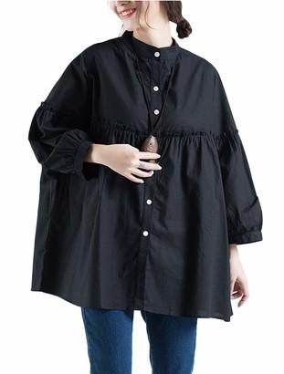 FTCayanz Women's Linen Cotton Tunic Batwing Blouse A-Line Shirt Pleated Plus Size Tops Black