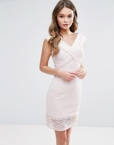 Lipsy Crossover Lace Pencil Dress