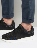 Pull&Bear Woven Sneakers In Black and Blue