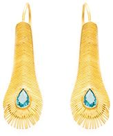 Marie Helene De Taillac gold peacock feather earrings