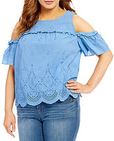 Democracy Plus Ruffle Yoke Cold-Shoulder Tank