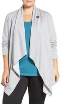 Bobeau Plus Size Women's One-Button Fleece Cardigan