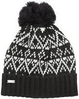 Coal Women's The Olive Geometric Pattern Beanie with Pom and Ribbed Cuff