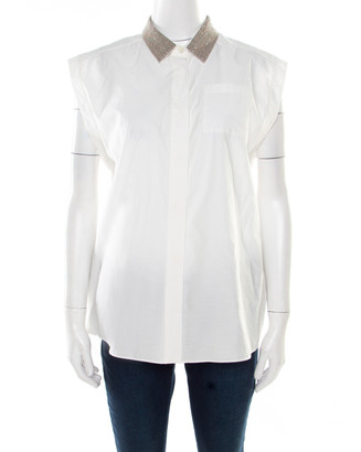 Brunello Cucinelli Off White Monili Collar Detail Sleeveless Shirt XL