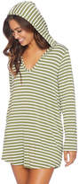 Splendid Olive Stripe Hooded Pocket V-Neck Modal-Blend Cover-Up Tunic