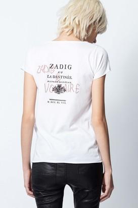 Zadig & Voltaire Destinee Strass Cotton Tunisian-Collar T-shirt