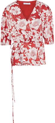 Rebecca Minkoff Mary Floral-print Satin-twill Wrap Top