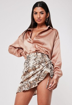 Missguided Petite Brown Snake Print Satin Ruched Mini Skirt