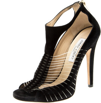 Jimmy Choo Black Suede and Wire T-Strap Open Toe Sandals Size 37