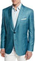 Brioni Check Two-Button Wool Jacket, Aqua/Green