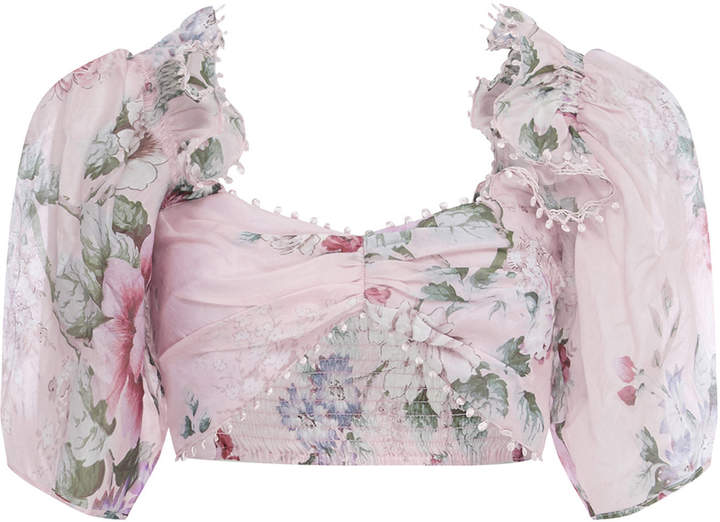 Alice McCall Cropped Floral-Print Silk-Chiffon Top