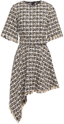 Oscar de la Renta Asymmetric Frayed Cotton-blend Jacquard Mini Dress