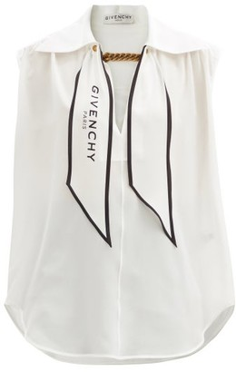 Givenchy Logo-lavalliere Crepe De Chine Sleeveless Blouse - White