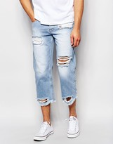 Asos Relaxed Jeans In Cropped Length With Raw Edge Hem