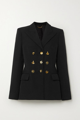 Givenchy Button-embellished Double-breasted Grain De Poudre Wool Blazer - Black