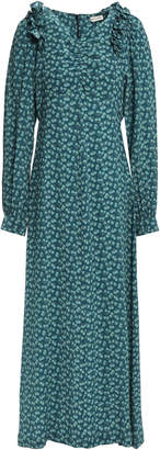 Masscob Provence Ruffle-trimmed Floral-print Crinkled-silk Maxi Dress