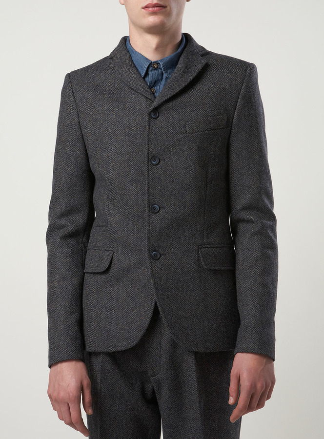 Topman Made in England Blue Miller Skinny Suit Jacket