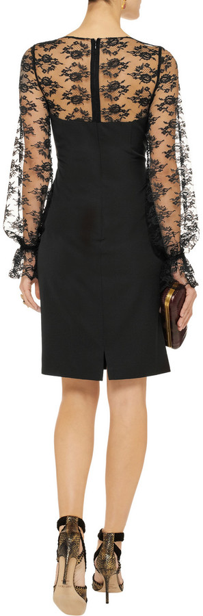 Mikael Aghal Lace-trimmed sateen dress