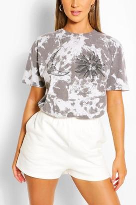 boohoo Tie Dye Sun & Moon Printed T-Shirt