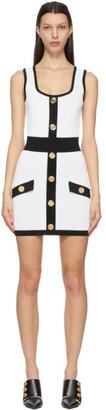 Balmain White and Black Knit Short Dress