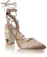 Glamorous Flower Heel Satin Shoe