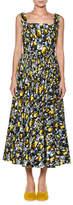 Marni Square-Neck Cotton Midi Dress