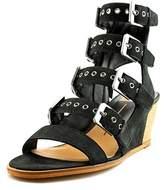 Dolce Vita Laken Women Open Toe Leather Black Wedge Sandal.