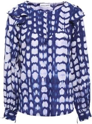 Antik Batik Atlas Ruffle-trimmed Tie-dyed Cotton Blouse