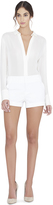 Alice + Olivia White Cady Cuff Shorts
