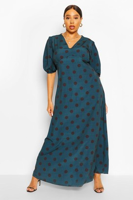 boohoo Plus Polka Dot Puff Sleeve Midi Dress