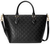 Gucci Guccissima Small Leather Tote Bag, Black