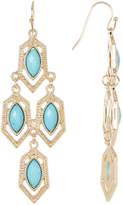 Natasha Accessories Faceted Stone Detail Honeycomb Drop Earrings