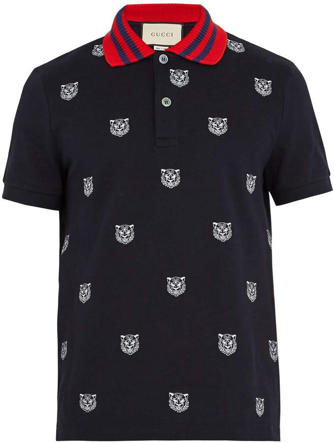 Gucci Tiger-embroidered stretch-cotton polo shirt