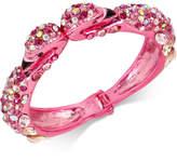 Betsey Johnson Betsy Johnson Pink-Tone Pave Stone and Imitation Pearl Flamingo Bangle Bracelet