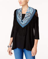 Style and Co Detachable Scarf Cold-Shoulder Top, Created for Macy's