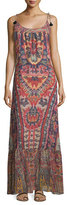 Figue Koko Ikat-Print Tie-Shoulder Maxi Dress, Red Lotus