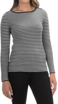 Cable & Gauge Striped Wide Neck Sweater (For Women)
