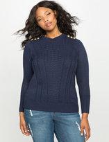 ELOQUII Plus Size Button Shoulder Stitched Sweater