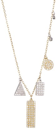 ADORNIA Gold Plated Sterling Silver Multi Shaped Pave Swarovski Crystal Accented Pendant Necklace