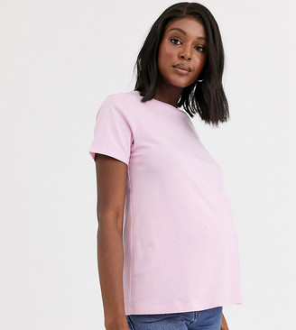 Asos DESIGN Maternity ultimate organic cotton crew neck t-shirt in pink