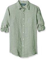 Perry Ellis Men's Solid Rolled-Sleeve Linen Shirt
