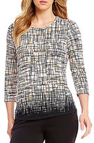 Investments Petite Essentials Printed 3/4 Sleeve Top