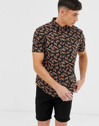 Original Penguin all over tiger print short sleeve button down shirt in black