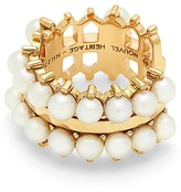 Nouvel Heritage Double Pearl Lace Ear Cuff Earring - Yellow Gold