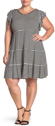 Max Studio Striped Flutter Sleeve Tiered Dress